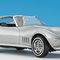 détail miniature de voiture Chevy Corvette 1968 - argent The Franklin Mint