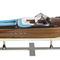 détail maquette de bateau, voilier, runabout Runabout Lago di Como, cuir bleu - 67 cm Authentic Models -AM-