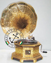 Gramophone Octagonal Shape with Golden Metal Work and Carving Horn