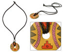 Novica Ceramic necklace, 'Yellow Amulet'