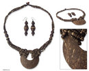 Novica Coconut shell jewelry set, 'Thai Princess'