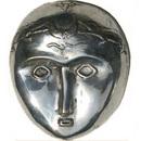 Artisans du bronze de Java Masque Lune bronze argenté