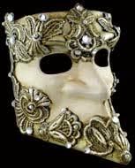 Venetian mask Bauta Macrame silver Carta Alta
