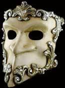 Venetian mask Casanova Baroque silver / white Carta Alta