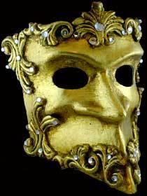 Venetian mask Casanova Baroque gold Carta Alta