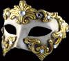 Venetian mask Colombina Baroque silver Carta Alta