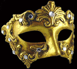 Venetian mask Colombina Baroque gold Carta Alta