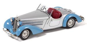 miniature de voiture Audi 225 Front Roadster, 1935 bleu et argent CMC Modelcars Quirao idées cadeaux
