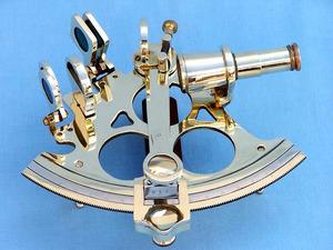 astrolabe, boussole, sextant Sextant triangulaire laiton 15 cm + coffret bois  Quirao idées cadeaux