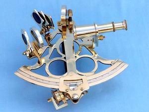 astrolabe, boussole, sextant Sextant triangulaire laiton 20 cm + coffret bois  Quirao idées cadeaux