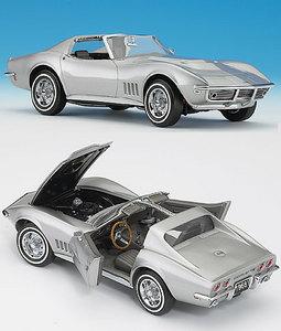 miniature de voiture Chevy Corvette 1968 - argent The Franklin Mint Quirao idées cadeaux