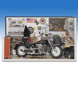 miniature de moto Harley garage diorama & 1998 fat boy The Franklin Mint Quirao idées cadeaux