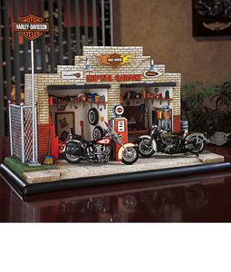 miniature de moto Harley town mini scene - softail garage The Franklin Mint Quirao idées cadeaux