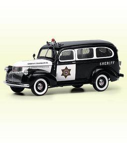 miniature de voiture Chevrolet Suburban Sheriff's Wagon - 1964 The Franklin Mint Quirao idées cadeaux