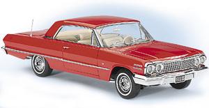 miniature de voiture Chevy Impala Coupé 1963 - rouge riverside The Franklin Mint Quirao idées cadeaux