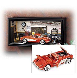 miniature de voiture Corvette in garage diorama 1958 The Franklin Mint Quirao idées cadeaux