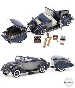 miniature de voiture Ford Cabriolet with Trailer - 1936 The Franklin Mint Quirao idées cadeaux