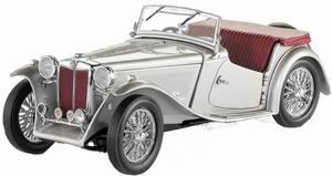miniature de voiture MG TC 1948 - silver The Franklin Mint Quirao idées cadeaux