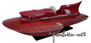 maquette de bateau, voilier, runabout Ferrari Hydroplane 1954 bois naturel - 80 cm Gia Nhien Quirao idées cadeaux