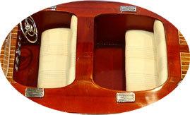 maquette de bateau, voilier, runabout Chris Craft Triple Cockpit 80 cm creme Gia Nhien Quirao idées cadeaux