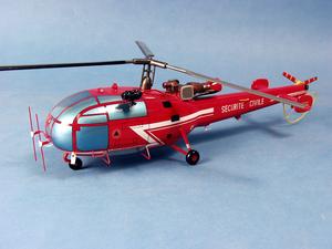 maquette d'helicoptère Alouette III SA.316B Sécurité Civile - 39 cm Pilot's Station Quirao idées cadeaux
