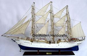 maquette de bateau, voilier, runabout Christian Radich peint - 94 cm Old Modern Handicrafts Quirao idées cadeaux
