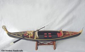 maquette de bateau, voilier, runabout Gondole vénitienne peinte noir - 60 cm Old Modern Handicrafts Quirao idées cadeaux
