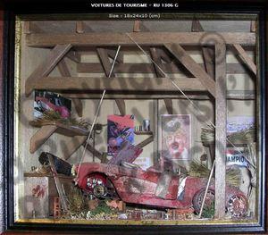 tableau 3d Auto dans la grange Patrick Richard Quirao idées cadeaux
