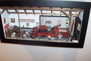 tableau 3d Camion pompier Patrick Richard Quirao idées cadeaux