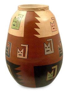 promotion sur Chat Inca souriant, vase céramique