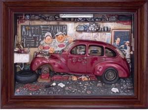 tableau 3d Le Garage Guillermo Forchino Quirao idées cadeaux
