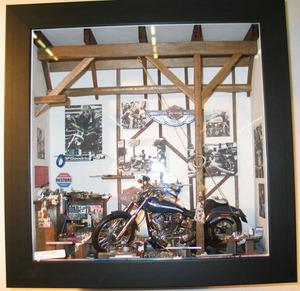 tableau 3d Garage moto Patrick Richard Quirao idées cadeaux
