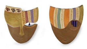 Novica Ceramic mask, 'Whispers from the Past' (pair)