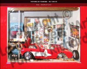 tableau 3d Vieux garage US Patrick Richard Quirao idées cadeaux