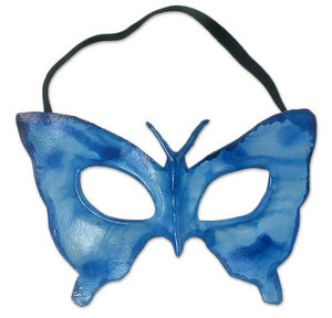 Novica Leather mask, 'Blue Butterfly'