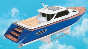maquette de bateau, voilier, runabout Gold Coast - coque bleu - 100 cm  Quirao idées cadeaux