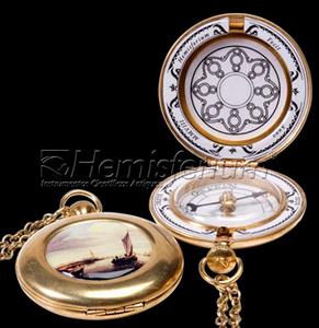 astrolabe, compass, sextant Enamel Pocket Compass Hémisferium