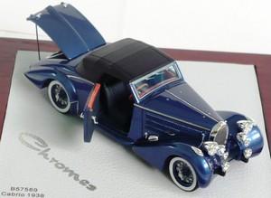 miniature car Bugatti T57 Aravis 1938 Cabrio  D'Ieteren 57589 Metal Blue  Open door and rear trunk Ilario