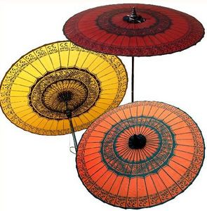 parasol and umbrella Big Parasol with Drawings N°3 Orange Artisans de Birmanie