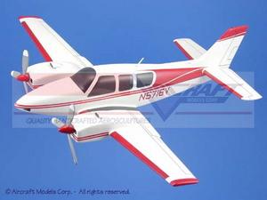 maquette d'avion Beech Baron White  Red Trim Aircraft Models Quirao idées cadeaux