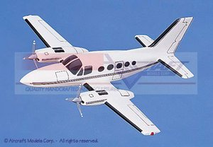 maquette d'avion Cessna 414 White  Blue Pinstripe Aircraft Models Quirao idées cadeaux