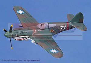 maquette d'avion Curtiss P-40B Hawk Flying Tigers-Hells Angels Squadron Aircraft Models Quirao idées cadeaux