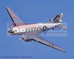 maquette d'avion Douglas C-47 Skytrain (Navy) White-Gray Aircraft Models Quirao idées cadeaux