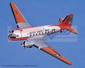 maquette d'avion Douglas C-47 Skytrain (Navy) White-Orange Aircraft Models Quirao idées cadeaux