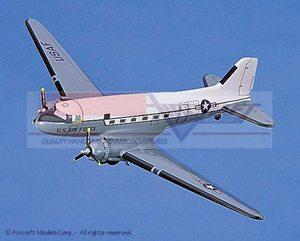 maquette d'avion Douglas C-47 Skytrain (USAF) White-Gray Aircraft Models Quirao idées cadeaux