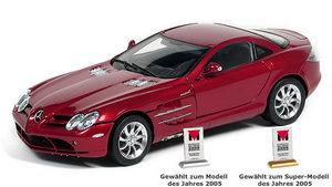 miniature de voiture Mercedes SLR Mac Laren rouge (1:18e) CMC Modelcars Quirao idées cadeaux