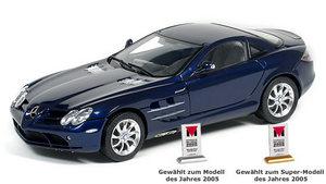 miniature de voiture Mercedes SLR Mac Laren bleue (1:18e) CMC Modelcars Quirao idées cadeaux