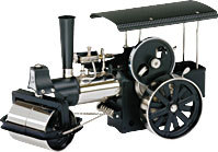 model steam engine D368 - Steamroller black - Nickel Wilesco