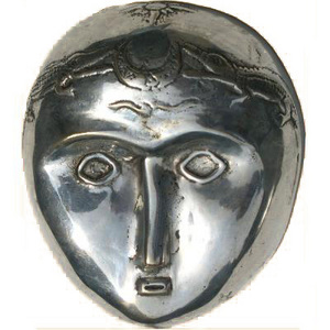 Artisans du bronze de Java Moon Mask bronze silver