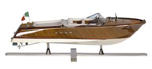 maquette de bateau, voilier, runabout Runabout Lago di Como, cuir blanc - 67 cm Authentic Models -AM- Quirao idées cadeaux